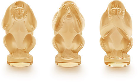 Lalique Crystal - Monkey Wisdom - Gold Luster - Style No: 10490500