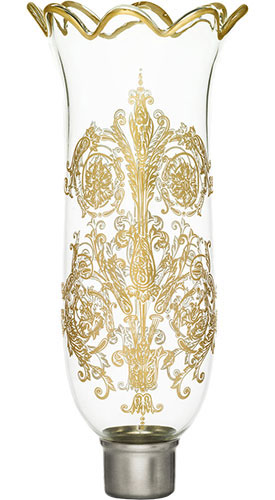 Baccarat Crystal - Hurricane Shades Acanthus - Scalloped Top - Gilded - Style No: 2807231